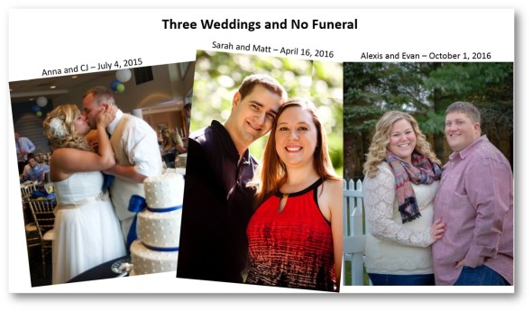Three Weddings and No Funeral